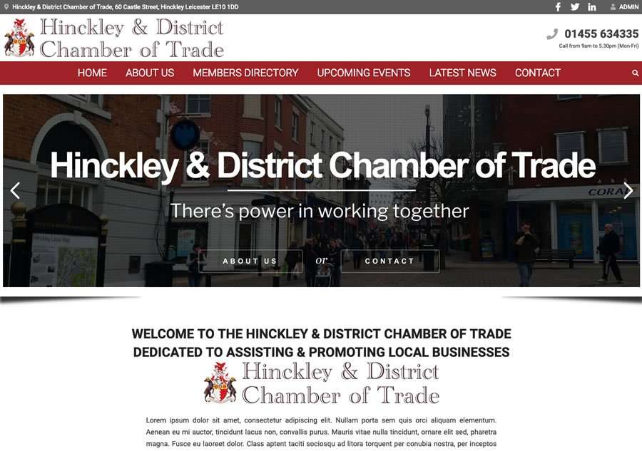 Hinckley & District Chamber of Trade Wordpress Website