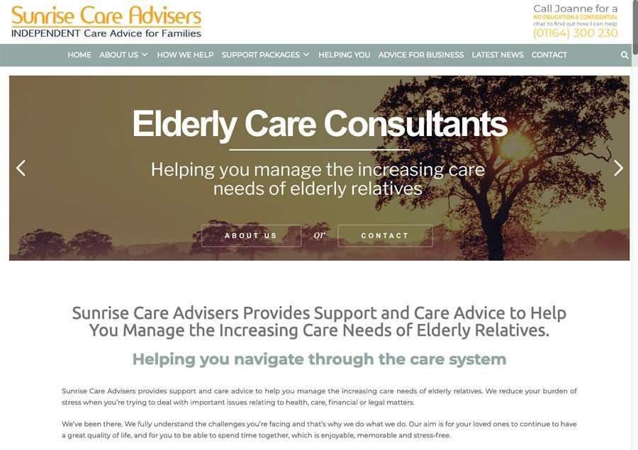 Sunrise Care Advisers - Elder Care Consultancy - Wordpress Website
